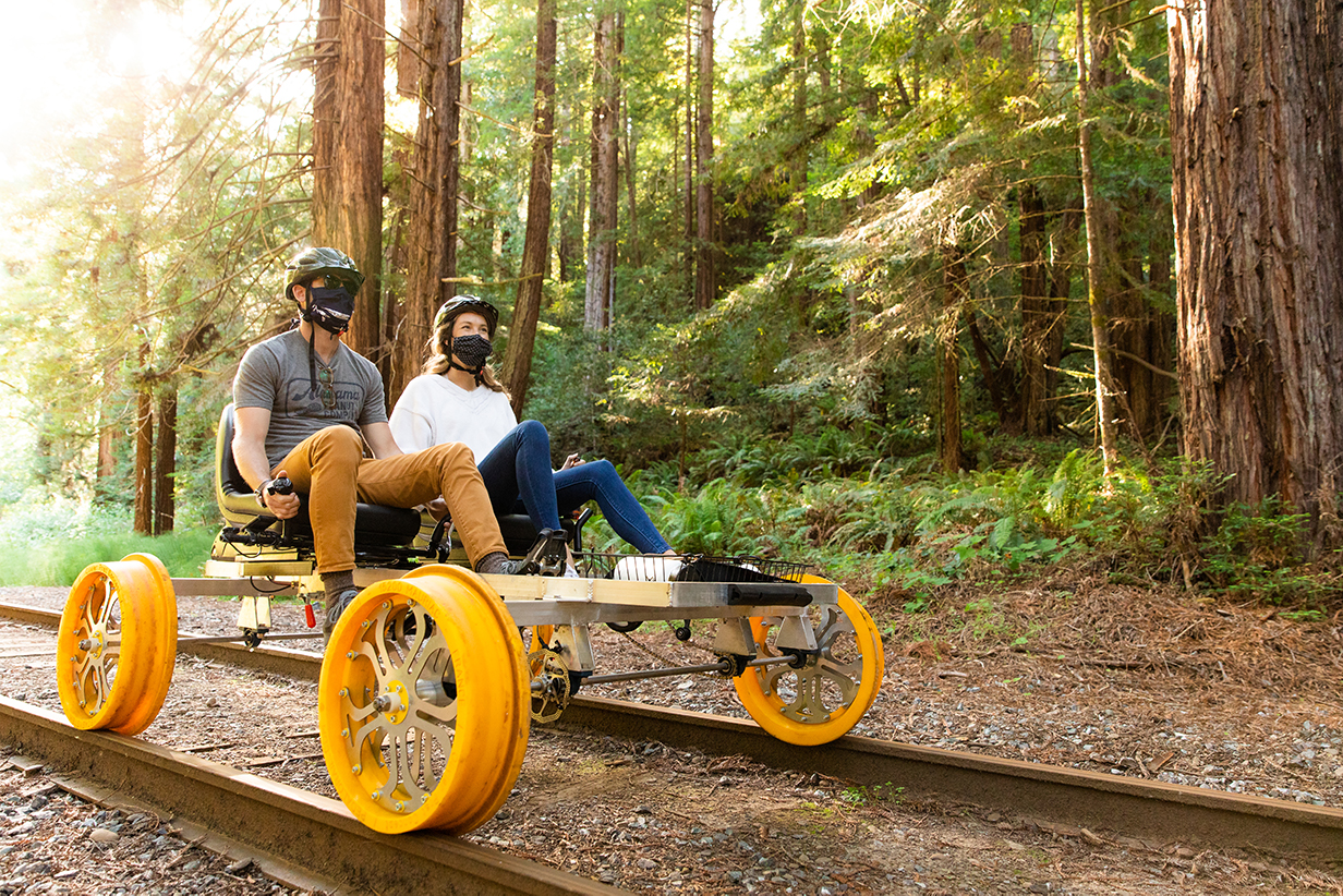 Skunk Train_Railbikes and Face Mask