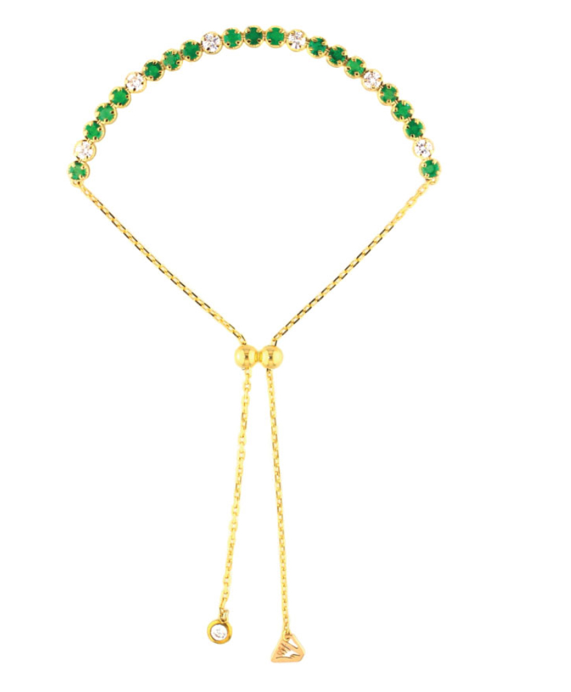 2.9 mm Adjustable Tennis Bracelet by Alessa Jewelry in 18K Yellow Gold with Diamonds and Emeralds ($1,692).
