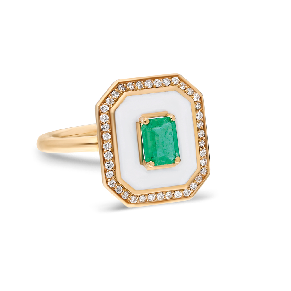 Fizzy Gemstone Ring by Terzihan in 18K Rose Gold with Diamonds, Emeralds and White Enamel ($3,848).
