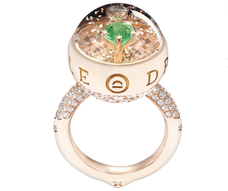 Solitaire by Dreamboule in 18K Rose Gold with Emerald, White Diamonds and 24K Gold Flakes ($31,720)